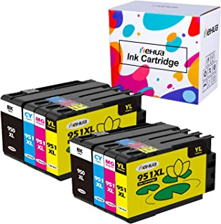 Hehua Compatible Ink Cartridges Replacement for HP 950XL 951XL 950 951 OfficeJet Pro 8600 8610 8620 8630 8625 8100 8615 8640 8660 251dw 276dw (2Black, 2Cyan, 2Yellow, 2Magenta, 8 Packs)