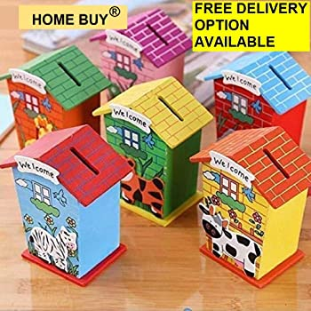 home buy Return Gifts Piggy Bank Wood House Animal Designs - Pack of 6