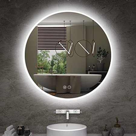 ISTRIPMF LED Bathroom Mirror 24 Inch Round Dimmable Mirror Lights with Anti-Fog ,Brightness Memory,3 Color Adjustable Bathroom Mirror
