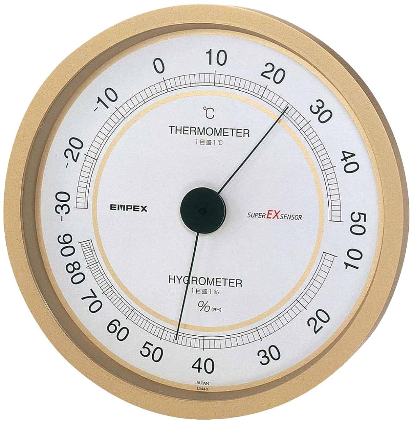 スパイラルカロリーからエンペックス気象計 温度湿度計 スーパーEX 温湿度計 壁掛け用 日本製 シャンパンゴールド EX-2748