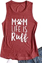 Womens Tank Tops Dog Mom Life is Ruff Letter Graphic Print Sleeveless Funny T Shirts