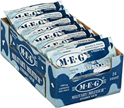 MEG - Military Energy Gum | 100mg of Caffeine Per Piece + Increase Energy + Boost Physical Performance + Arctic Mint 24 Pa...