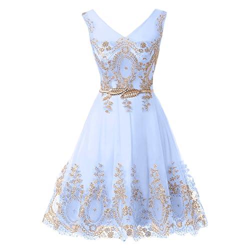 f8ab759751 MILANO BRIDE Cocktail Dress Short Prom Party Dress Applique Belt Tulle