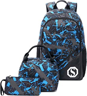 17d79f2406 CAMTOP Teens Backpack for School Boys Girls School Bookbag Set Travel  Daypack (Black graffiti