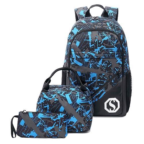 d1b1addfab75 CAMTOP Teens Backpack for School Boys Girls School Bookbag Set Travel  Daypack (Black/graffiti