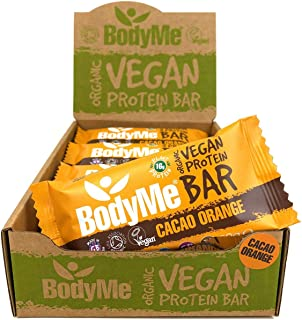 BodyMe Organic Vegan Protein Bar | Raw Cacao Orange | 12 x 60g Vegan Protein Snack Bars | Gluten Free | 16g Complete Prote...