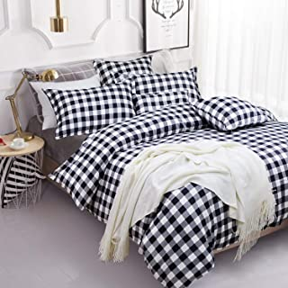 FADFAY Buffalo Plaid Duvet Cover Set 100% Cotton Hypoallergenic 3Pcs Black and White Gingham Plaid Geometric Checker Bedding Set with Zipper Closure, 1Duvet Cover + 2Pillowcases, King/Cal King Size