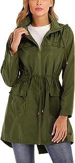 MISS MOLY Women's Rain Coat Rain Jacket Waterproof with Hood Lightweight Outdoor Raincoat Windbreaker