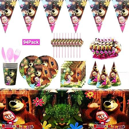YUIP 94 Pezzi Masha e Orso Tema Set di Stoviglie per Feste, Forniture per Feste di Compleanno per Bambini, Set Accessori Feste Compleanno Cartoni Animati,(10 Persone)