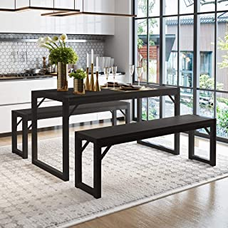 Amolife 3-Piece Modern Industrial Soho Dining Table Set,...