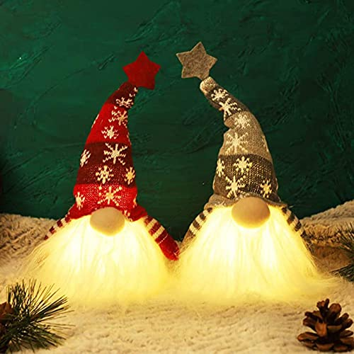 high quality OPTIMISTIC 2 Pack Gnome Christmas Ornaments with Led Light, Handmade 2021 Swedish Tomte Gnomes Doll, Scandinavian Santa Elf Plush Table Ornament, Christmas Tree wholesale Hanging Decoration Holiday Home Decor online