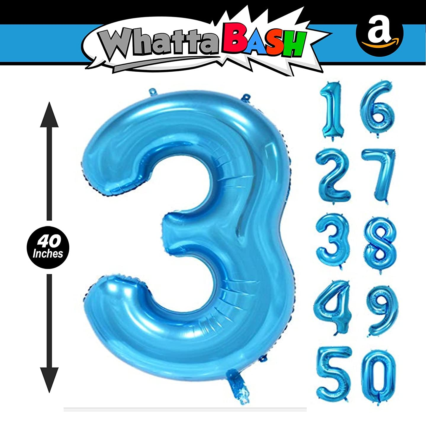 40 Inch Blue Jumbo Number 3 Three Balloon - Giant Large Balloons Foil Decorations Supplies For Birthday Party Wedding Bridal Shower Anniversary Engagement Photo Shoot Gift Accessories (Blue, Number 3)