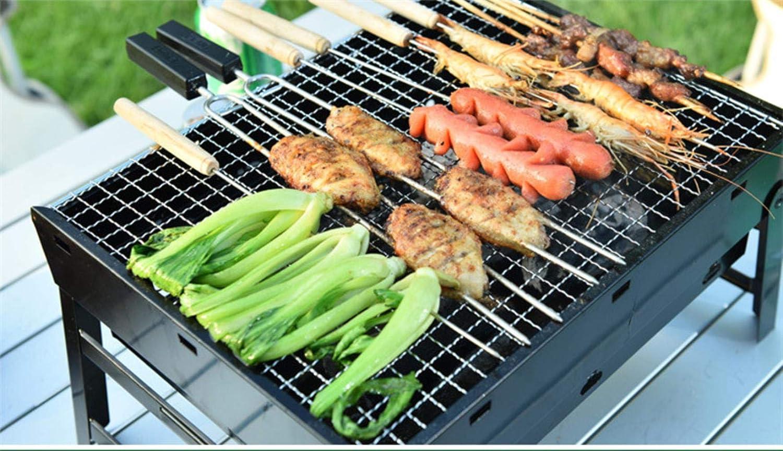 HUADUO 10 pcs en Plein Air Pique-Nique Barbecue Barbecue Brochette Rôti Bâton Aiguille en Acier Inoxydable avec Poignée en Bois Tong Kebabe Outils, 15 pcs 15pcs