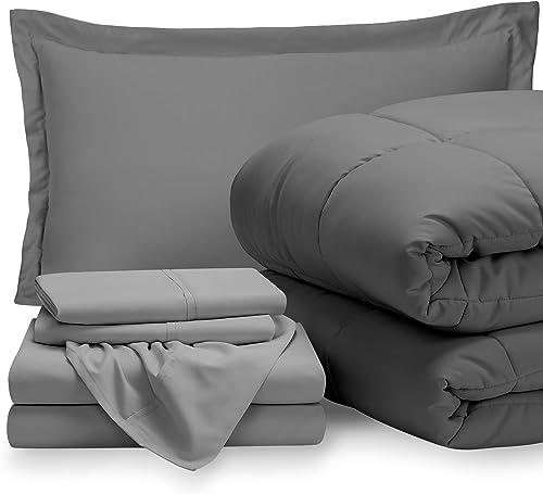 Bare Home Bedding Set 5 Piece Comforter & Sheet Set - Twin - Goose Down Alternative - Ultra-Soft 1800 Premium - Hypoa...