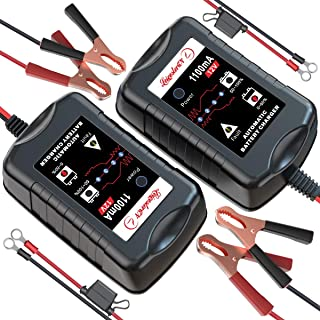 [2-Pack] LEICESTERCN 12V Battery Trickle Charger Maintainer Portable Smart Float Charger for Car Motorcycle Lawn Mower SLA...