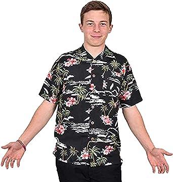 Camisa hawaiana de manga corta para hombre, camiseta de fiesta de ciervo, playa, palmera, disfraz de adulto Hawaii