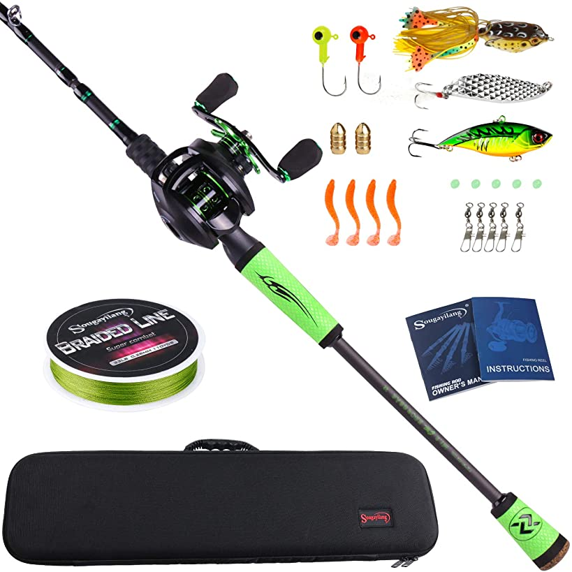 Sougayilang Speed Bass Fishing Rods, Porable Light Weight High Carbon 4 Pc Blanks for Travel Freshwater Fishing-Spinning & Casting
