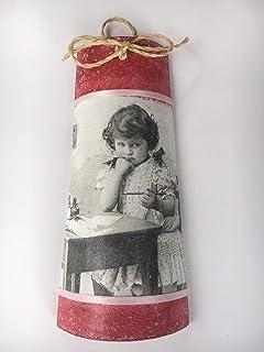 teja decorada con retrato vintage