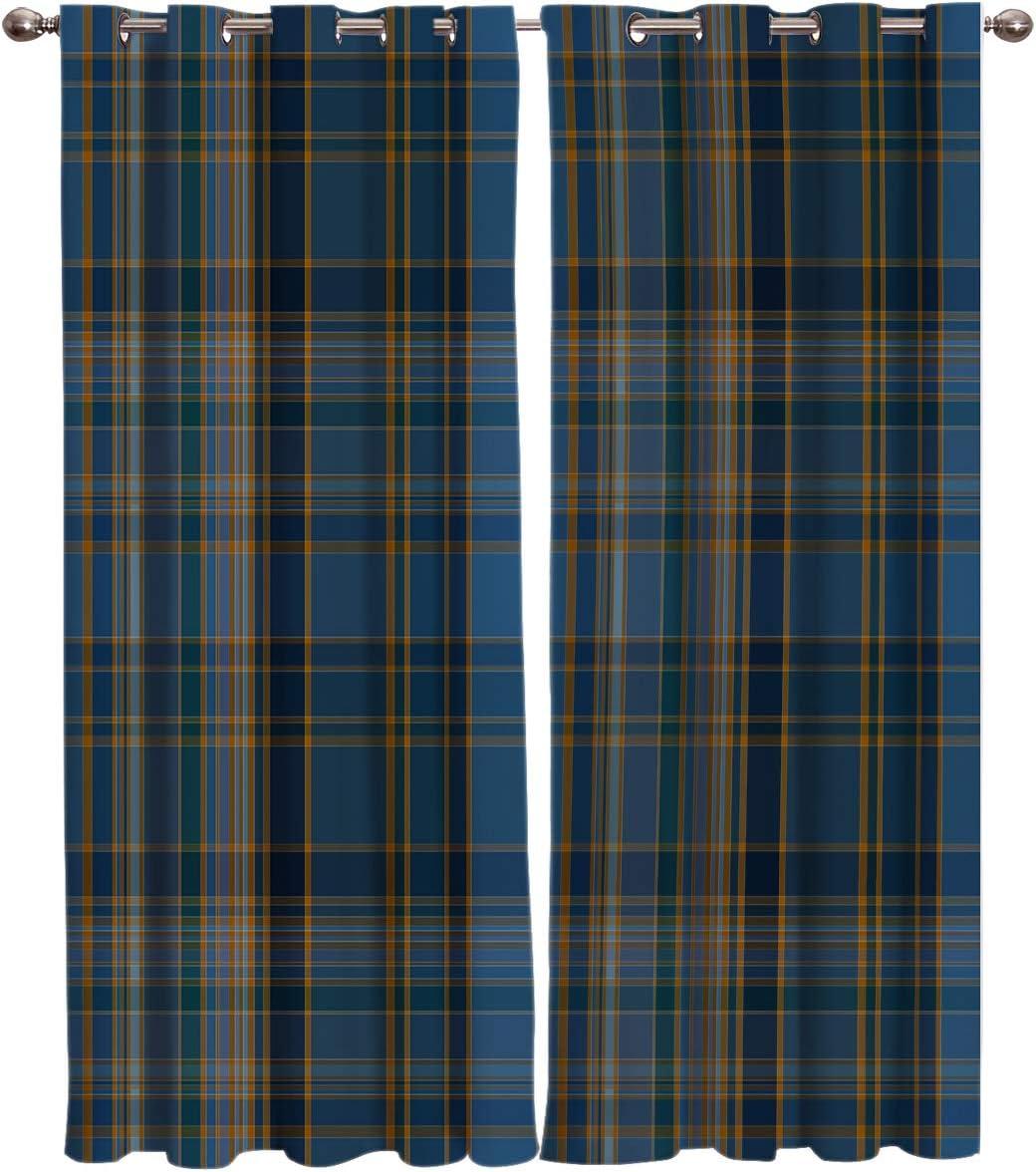 T&H Home Curtain Panel for Bedroom/Patio Door - Plaid Curtains, Classic Tartan Plaid Cells Stripes Geometric Pattern Window Treatment Set for Sliding Door, Look Semi Drapes - 104
