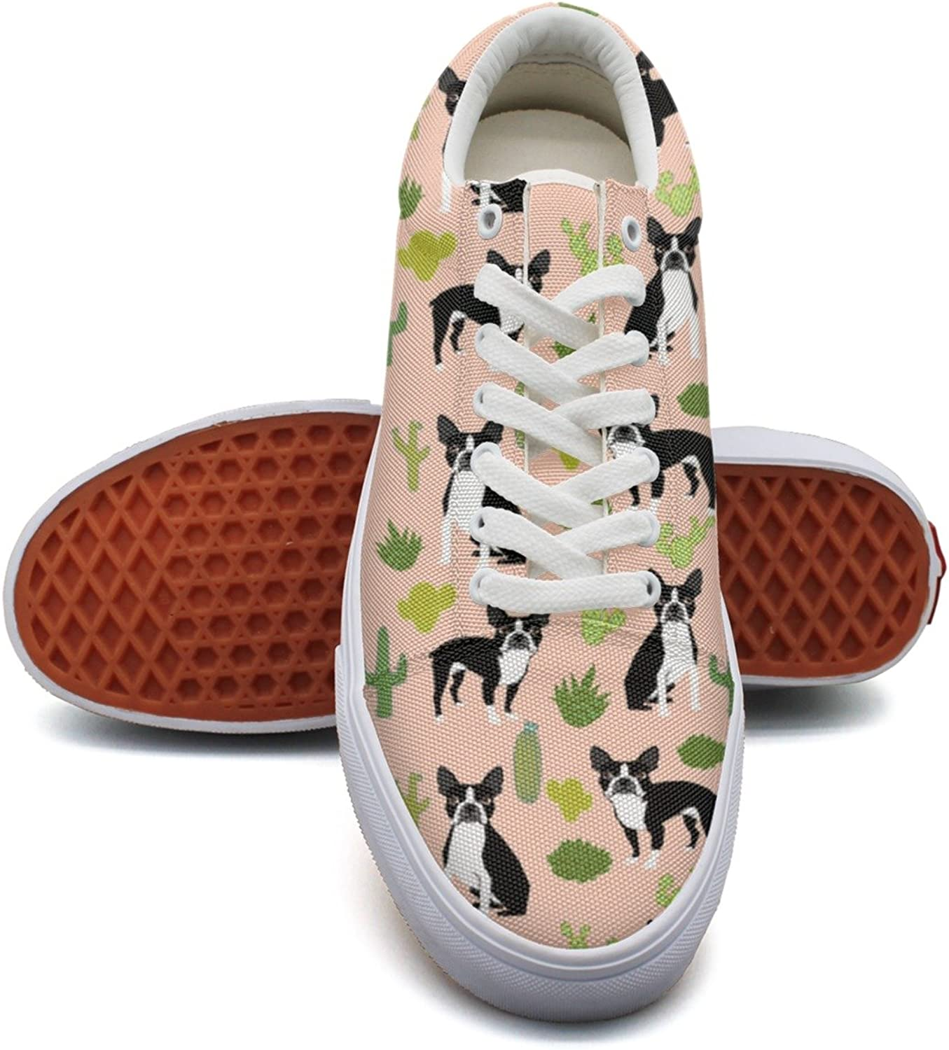 Feenfling Boston Terrier Dogs Cactus Womens Casual Sneakers shoes Low Top Retro Cloth shoes for Woman