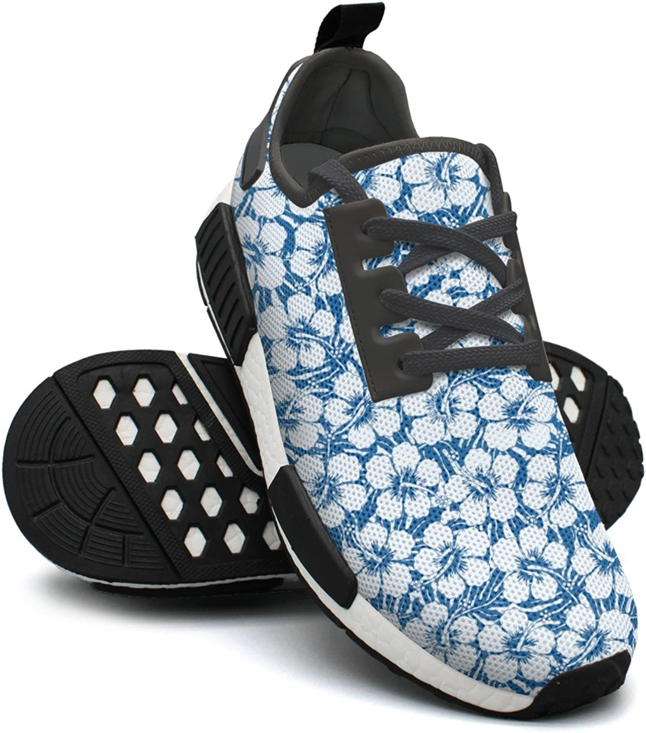 Graphic Navy And White Tropical Flowers Printed Lace-up Running shoes Nmd Sport Casual shoes