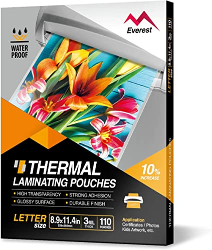 Everest Thermal Laminating Pouches, 8.9 x 11.4 - Inches, 3 Mil Thick, 110 - Pack, Letter Size Sheets, Clear(TH0300-01)