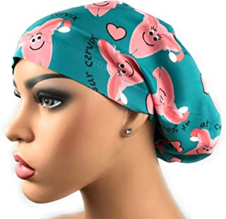 Womens Adjustable Bouffant Scrub Hat Ponytail Surgical Cap At Your Cervix