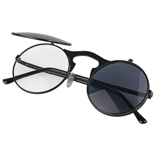 1ff72eafd5 Gothic Polarized Round Retro Sunglasses Steampunk Sunglasses Flip Up  Sunglasses