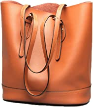 Women's Handbag Genuine Leather Tote Shoulder Bucket Bags Elegant Style Large Capacity