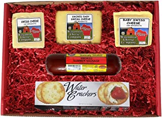 WISCONSIN'S BEST and WISCONSIN CHEESE COMPANY'S - REAL Wisconsin Cheese - Deluxe Swiss Cheese, Sausage and Cracker Gift Ba...