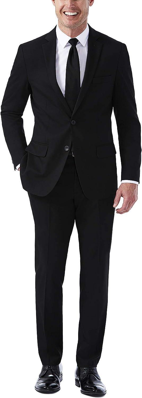 Haggar Men's Jm Premium Performance Stretch Stria Slim Fit 2-Button Suit Separate Coat, Black, 38R with Slim Fit Plain Suit & Pant, Black, 36Wx32L