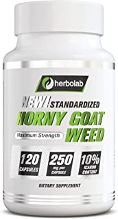 Sponsored Ad - Horny Goat Weed Extract Herbolab, Standardized to 10% Icariin, 250mg x 120 Capsules (AKA Epimedium Extract,...