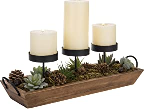 MyGift 3-Pillar Candle Holder with Rustic Wood Tray