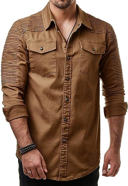 Shenhai Camisa Camisas para Hombres Hombreras Plisadas Color sólido Sección Delgada Camisa Vaquera Manga Larga Tamaño Grande, Caqui, M