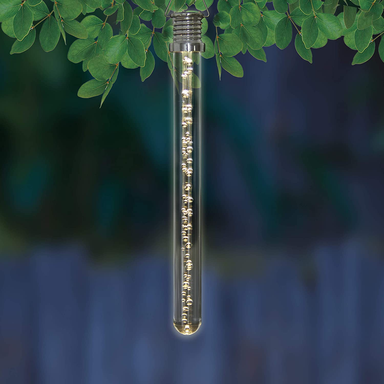 Glow-in-The-Dark Bubble Sticks 4-Pack LED Bubble Stick Set 1L x 1W x 10H Exhart 4Pc Solar Acrylic Bubble Stick w//Clear White LED Lights White Solar Hanging Light Sticks for Patio /& Backyard