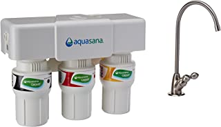 Aquasana 3-Stage Under Sink Water Filter System - Kitchen Counter Claryum Filtration - Filters 99% Of Chloramine - Brushed...