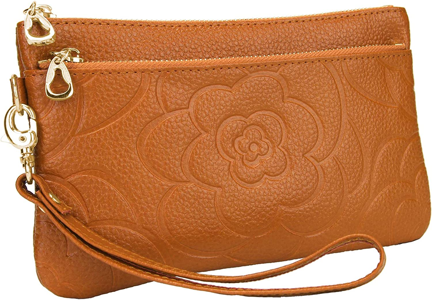 YALUXE Wristlet for Women Real Leather Flower Rose Large Clutch Wallet Phone Pro Max