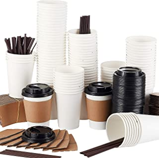 Springpack 110 Sets White hot Travel Lids Sleeves and Straws 100% Biodegradable & Compostable Pla Eco Friendly to go Paper Coffee Cups, 12oz,
