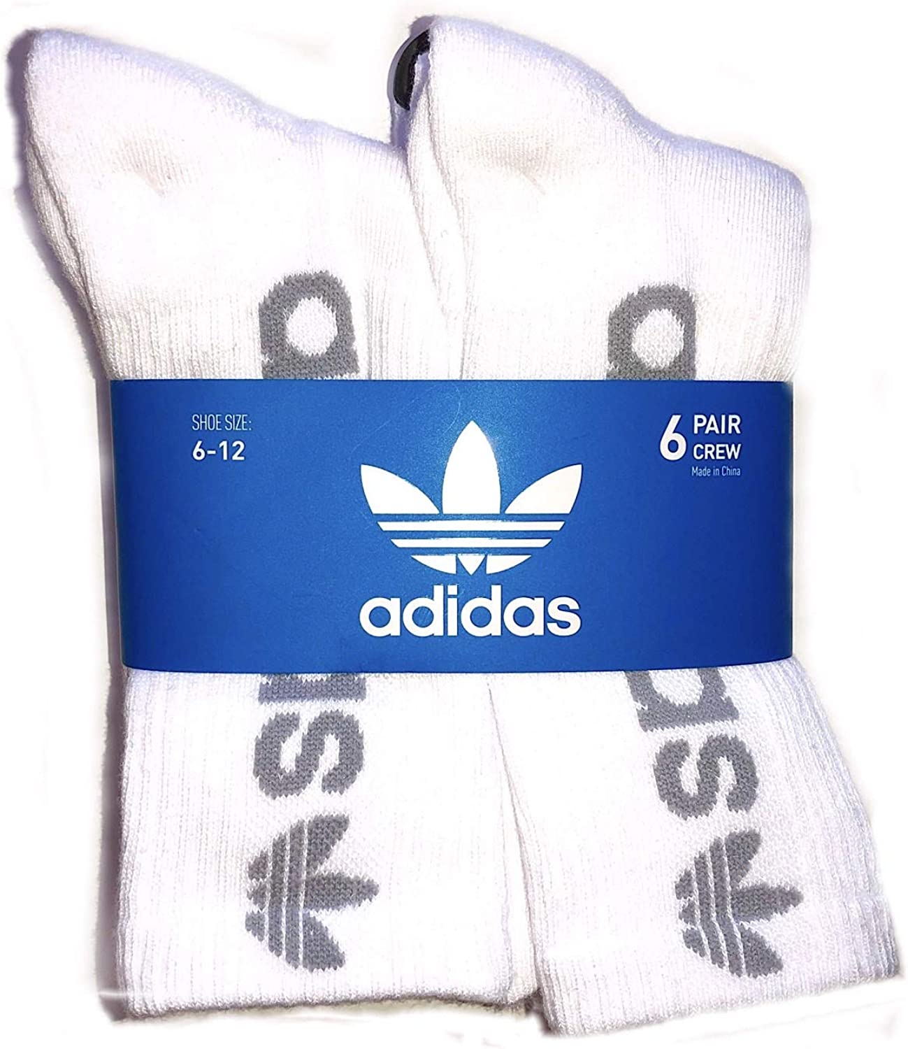Adidas Men's Athletic Sport Moisture Wicking Cushioned Crew Socks 6-Pack/ 6-Pair (Shoe Size 6-12) (White/Grey)