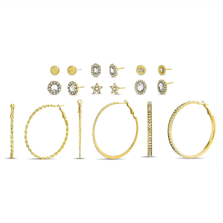 Steve Madden Rhinestone Acrylic Simulated Pearl Flower Stud Twisted Texture Hoop Earrings for Women Nine Pair Set
