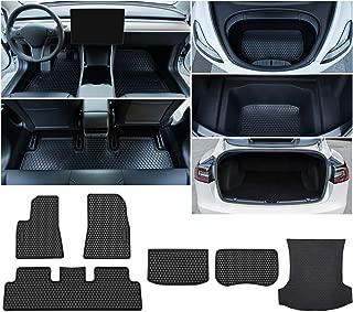 Bonbo Floor Mats for Tesla Model 3(2017-2019),Custom Fit,2 Front Seats,1 Rear Seat Floor Mats,1 Front Trunk mat,2 Rear Trunk,Heavy Duty Rubber,Odorless,All Weather Guard