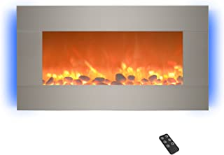 Home Electric Fireplace- Wall Mounted with 13 Backlight Colors Adjustable Heat and Remote Control-31 inch by Northwest (Brushed), 31