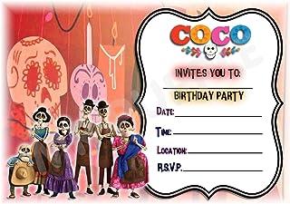 Geburtstagseinladungen im Design von Disneys Coco (mit englischer Inschrift), Querformat, Partyzubehör, A5 Format, 12er Packung