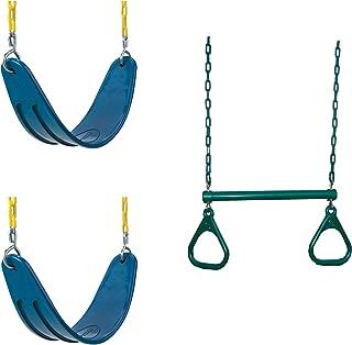 Swing-N-Slide WS 5105 Two Extreme Duty Blue Swing Seats with a Heavy Duty Ring/Trapeze Combo Swing Swing Set Refresher Bundle, Blue