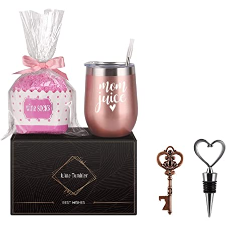 Wine Tumbler Cupcake Wine Socks Gift Set, Birthday Christmas Gifts for Mom Mother Women Mothers Day, Mom Juice Insulated Stainless Steel Wine Tumbler with Lid, Socks, Opener, Stopper(12 oz, Rose Gold)