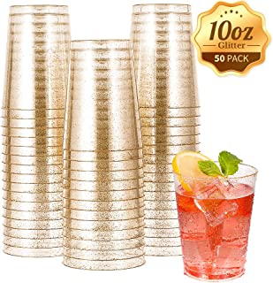 50pcs 10 OZ Gold Plastic Cups, Disposable Gold Glitter Plastic Cups, Clear Plastic Cups Tumblers, Wedding,Thanksgiving, Christmas Party Cups