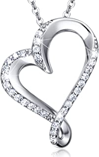 925 Sterling Silver Infinity Heart Necklace Billie Bijoux Endlessness Love Platinum Plated Diamond Pendant for Women Mother's Day Gift