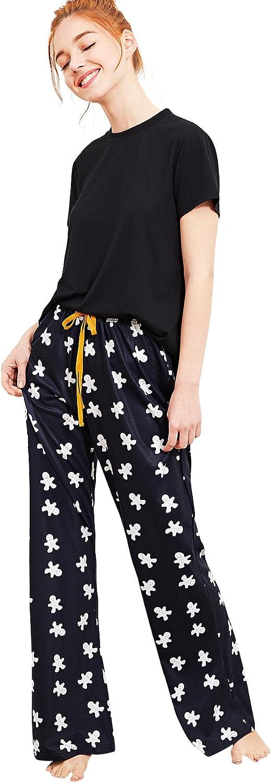 DIDK Women's Solid Tee and Cartoon Print Pants Pajama Set