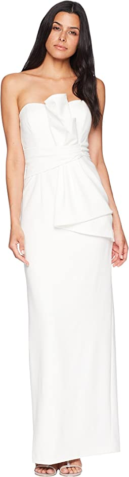 Strapless Knit Crepe Long Side Draped Gown