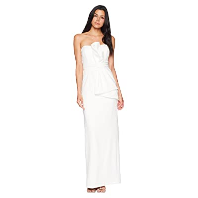 Adrianna Papell Strapless Knit Crepe Long Side Draped Gown (Ivory) Women